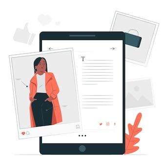 Ilustración de concepto de blogs de moda