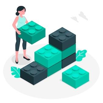Ilustración de concepto bloques de construcción