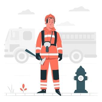 Ilustración del concepto de bombero