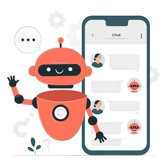 Ilustración de concepto de bot de chat