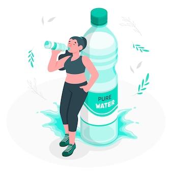 Ilustración del concepto de botella de agua
