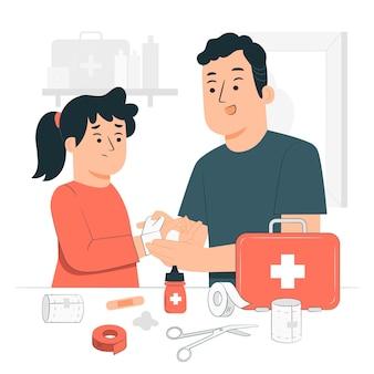 Ilustración de concepto de botiquín de primeros auxilios