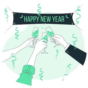 Ilustración de concepto de brindis de año nuevo
