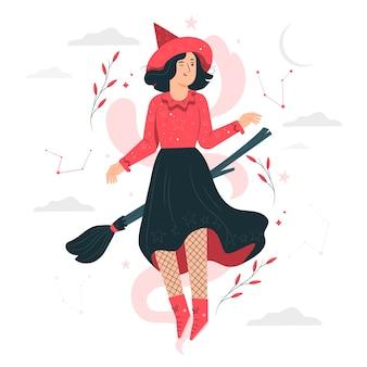 Ilustración del concepto de bruja
