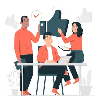 Ilustración del concepto de buen equipo