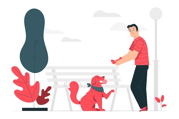 Ilustración de concepto buen perro
