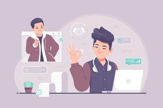 Ilustración de concepto de buen trato al cliente