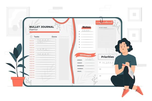 Ilustración de concepto de bullet journal