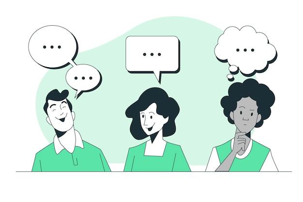 Ilustración de concepto de burbujas de discurso