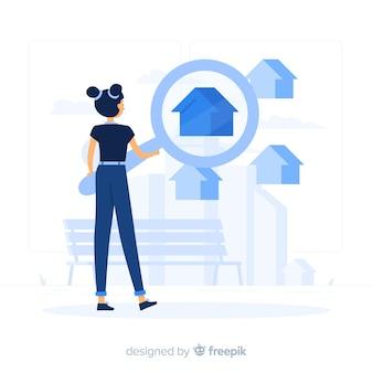 Ilustración del concepto de buscador de casa