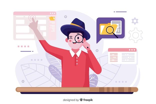 Ilustración de concepto de búsqueda de archivo