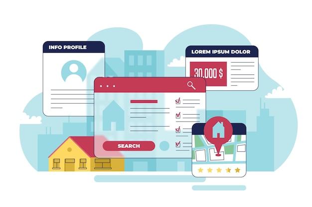 Ilustración del concepto de búsqueda de bienes raíces