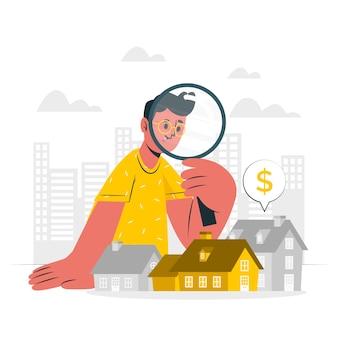 Ilustración de concepto de búsqueda de casa