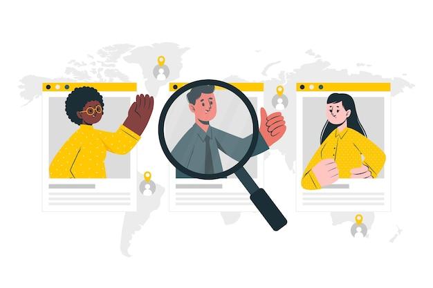 Ilustración de concepto de búsqueda de personas