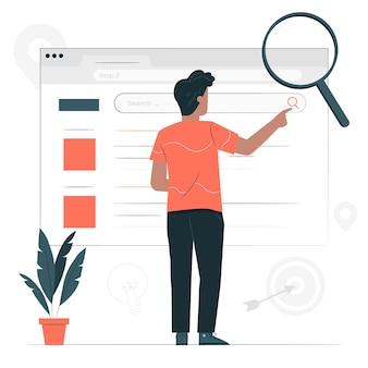 Ilustración del concepto de búsqueda web