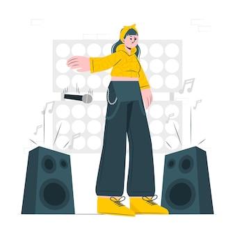 Ilustración de concepto de caída de micrófono
