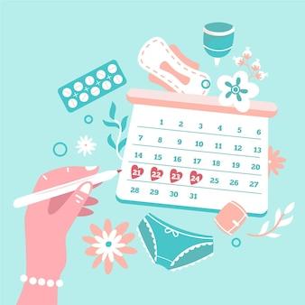 Ilustración de concepto de calendario menstrual creativo