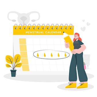 Ilustración de concepto de calendario menstrual