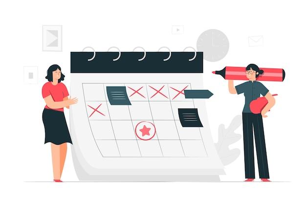 Ilustración del concepto de calendario