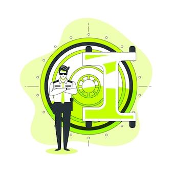 Ilustración de concepto de cámara de seguridad