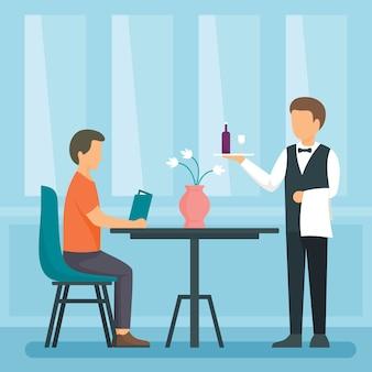 Ilustración del concepto de camarero, estilo plano