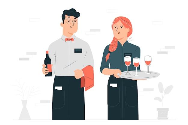 Ilustración del concepto de camareros