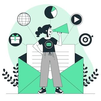 Ilustración del concepto de campaña de correo electrónico