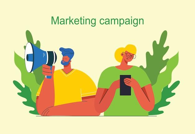 Ilustración de concepto de campaña de marketing
