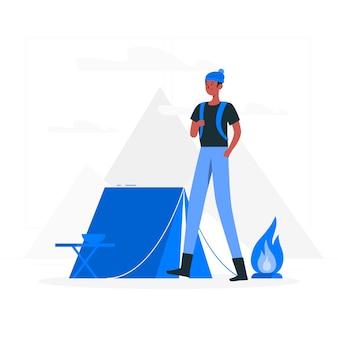 Ilustración del concepto de camping
