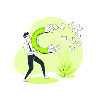 Ilustración de concepto captación de emails