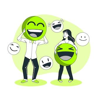 Ilustración del concepto de cara sonriente