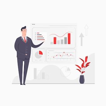 Ilustración del concepto carácter empresario con gráficos presentación gráficos informe datos