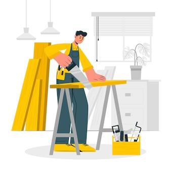 Ilustración del concepto de carpintero