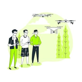 Ilustración del concepto de carrera de drones