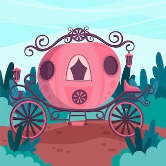 Ilustración con concepto de carro de cuento de hadas