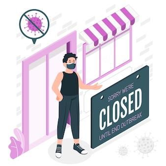 Ilustración de concepto de cartel cerrado