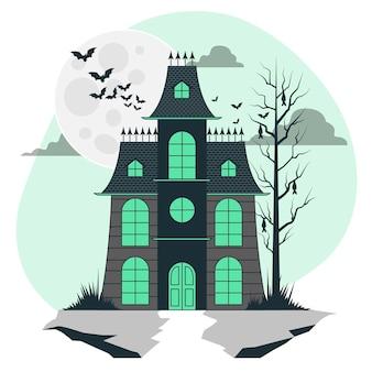 Ilustración de concepto de casa embrujada