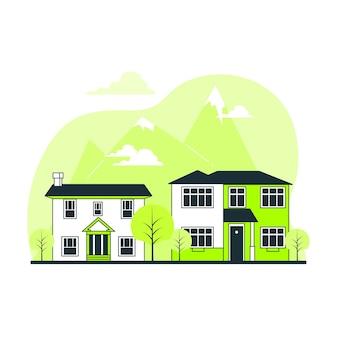 Ilustración del concepto de casas