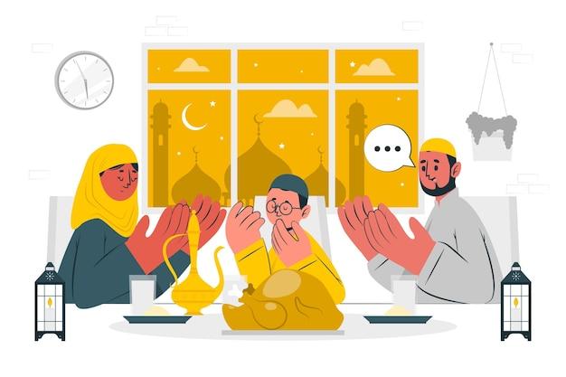 Ilustración de concepto de cena iftar