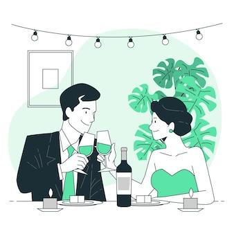 Ilustración de concepto de cena de san valentín
