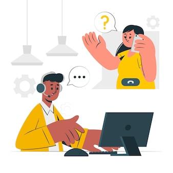 Ilustración del concepto de centro de llamadas