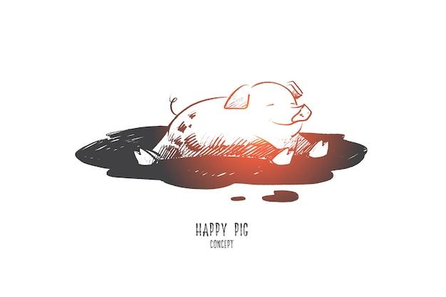 Ilustración de concepto de cerdo feliz