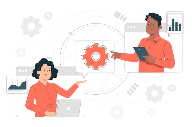 Ilustración de concepto de charlas de tecnología en línea