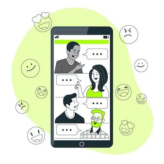 Ilustración del concepto de chat de grupo