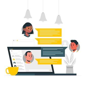 Ilustración del concepto de chat de trabajo