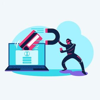 Ilustración concepto cibercrimen de pirata informático robando datos y haciendo phishing