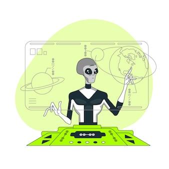 Ilustración del concepto de ciencia alienígena
