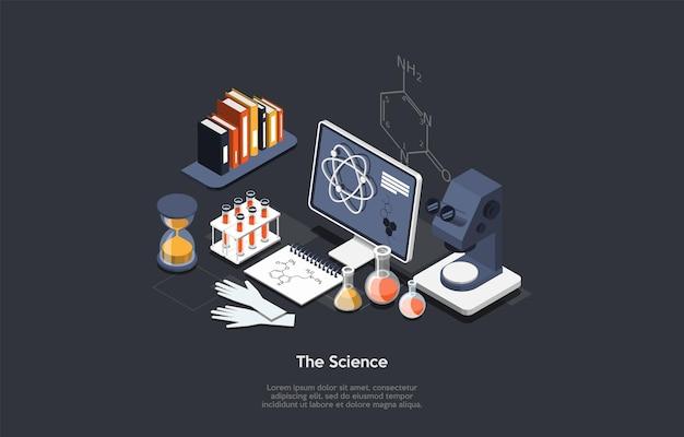 Ilustración del concepto de científico en estilo de dibujos animados 3d