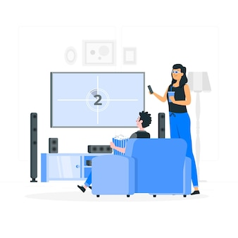 Ilustración de concepto de cine en casa vector gratuito