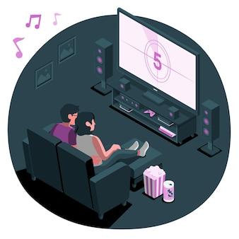 Ilustración de concepto de cine en casa